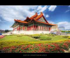 The National Theater and Concert Hall at Chiang Kai-Shek Memorial Hall in Taipei, Taiwan :: HDR (Artie | Photography :: I'm a lazy boy :)) Tags: classic architecture photoshop canon chinese taiwan wideangle structure handheld taipei ef 1740mm hdr concerthall nationaltheater artie memorialhall chiangkaishek cs3 3xp f4l photomatix tonemapping tonemap 5dmarkii 5dm2