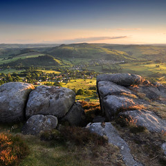 Peaceful village [Explored] (Paul Newcombe) Tags: uk light english landscape nationalpark rocks shadows village view derbyshire peakdistrict wideangle farmland hills edge squareformat vista fields british peaks tamron squarecrop warmlight eveninglight whitepeak gritstone latelight 1024 curbar widedepthoffield largedepthoffield northeastderbyshire