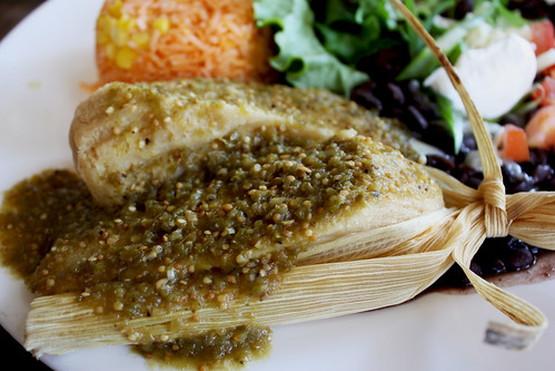 Vegetarian tamale with salsa verde