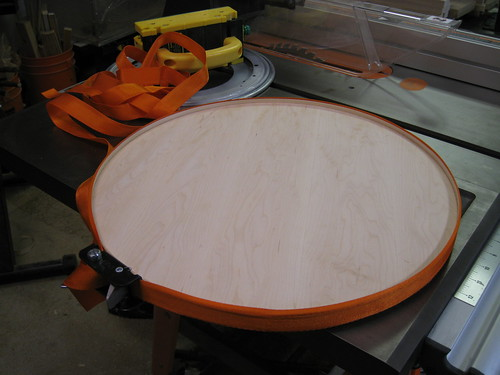 the glue-up - some custome maple edge-banding drying overnight