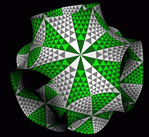 Surface of constant negative Gaussian curvature, tiled by hyperbolic hexagons