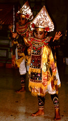Bali Dancers / Balinese Dance - All Dressed Up (Dominic's pics) Tags: bali orange yellow indonesia gold golden dance costume dancers traditional culture slide scan event filter transparency 1998 noise hindu performer dharma canoscan balinese agama seriousexpression reducenoise balinesedance 8800f agamahindudharma