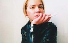 maia (tashaphotography) Tags: red film leather female cigarette smoke biting nails jacket maia blomde