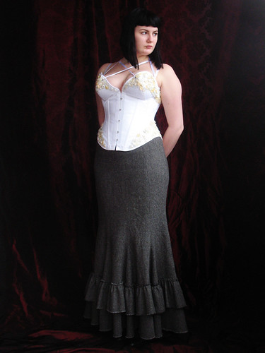button corset and fishtail skirt