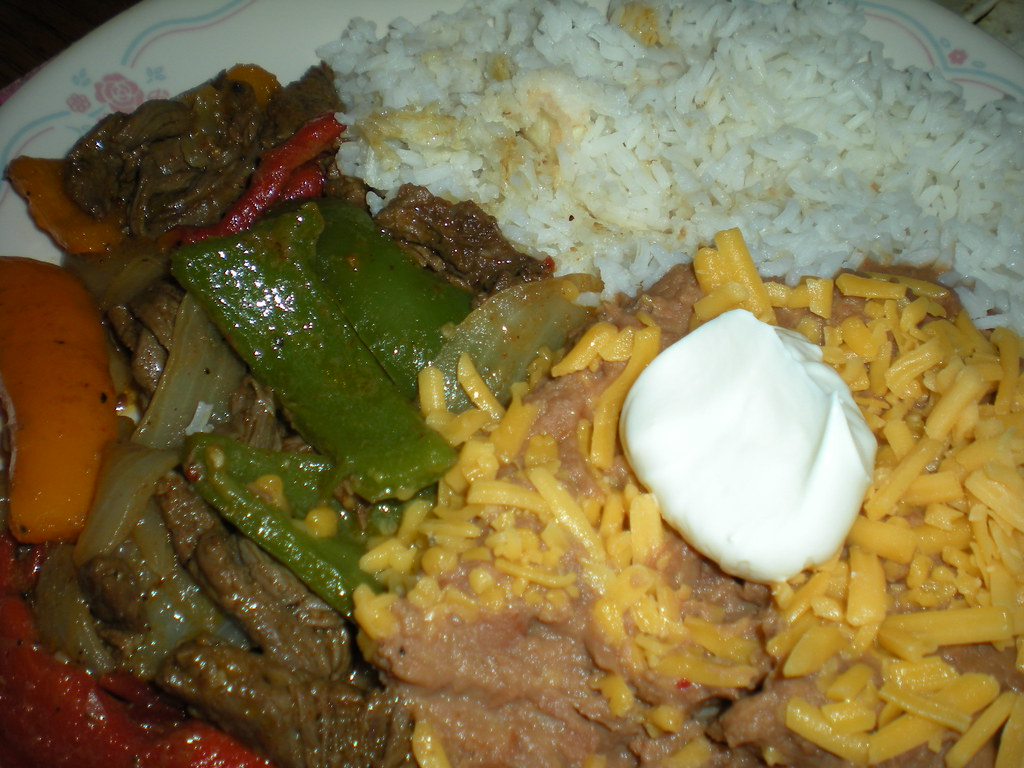 Steak Fajitas and Refried Beans