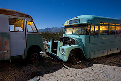 The Field Trip Ran a Little Over (codywbratt) Tags: california abandoned night digital canon lost desert schoolbus 2009 decaying pearsonville