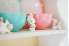 kitchen shelf (simple tess) Tags: china pink blue baby flower cute rabbit bunny kitchen animal animals yellow ceramic spring squirrel aqua cheery sheep display cottage deer shelf figurines lamb teacups whatnot cheerful decor figures porcelain knickknack curio madeinjapan eatin crinoline hazelatlas happyfirstdayofspring