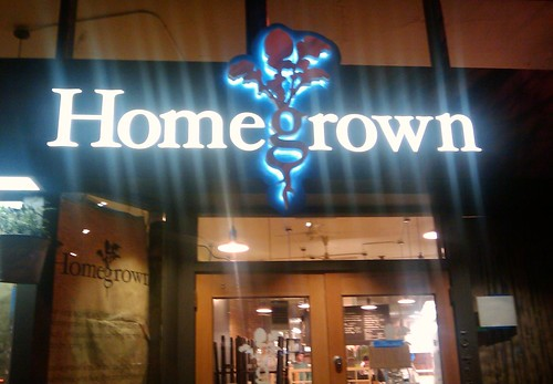 Homegrown's signage all lit up