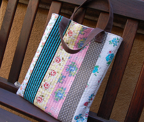 reversible quilted tote bag