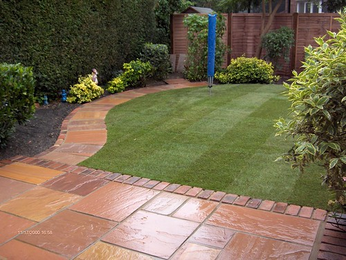 Indian Sandstone Patio and Lawn Image 3