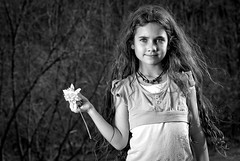 Talon with Daffodil (Morristowne) Tags: ohio bw 50mm nikon talon daffodil d200 nikkor f18 cls cs4 childphotography sb800 nelsonvilleohio strobist lr2 ohiophotographer thegalleryoffineportraitphotography morristownephotography