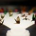 Paper cranes folded by Sadako Sasaki