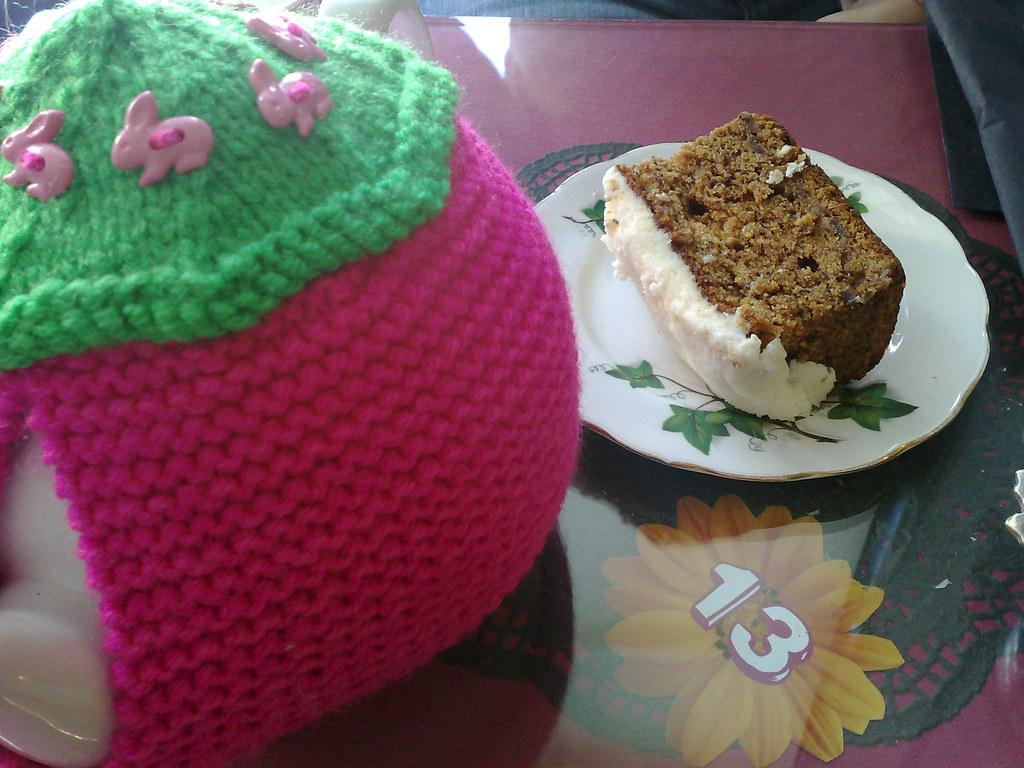 Carrot cake and tea pot at Loopy Lorna's, Morningside, Edinburgh