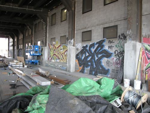 Once the High Line is finished, so too will be this graffiti. (Matt Chaban)