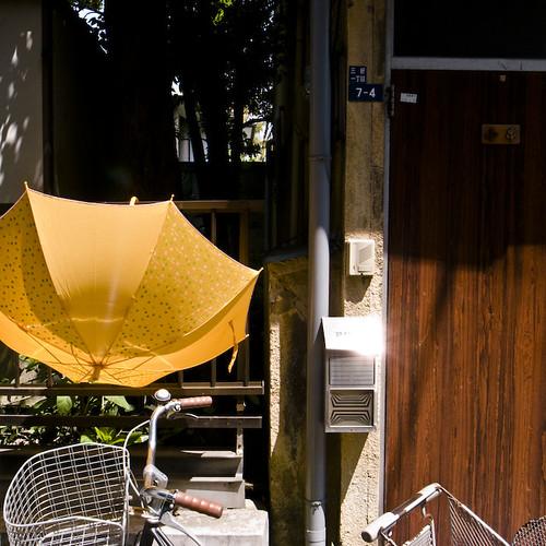 Bicycle, Umbrella, Sun Spots