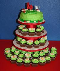 Ladybug Cake/Cupcakes (Kiss My Buttercream) Tags: birthday red flower green grass cake cupcake ladybug