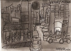 VICTORY MISSION, LOS ANGELES 1965 001 (roberthuffstutter) Tags: art drawings charcoal characters jesussaves soapbox sketches missions skids winos lapd downandout alcoholics handouts victorymission endisnear huffstutter alkys la1960s