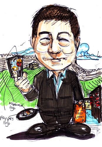 Caricature sketch of Mastercard  Mr Willie Fung (sketch 2 with colour scheme)
