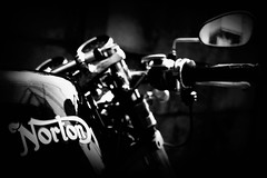 Black Rebel Motorcycle (Noisy Paradise) Tags: street bw monochrome bike japan tokyo blackwhite sigma norton explore motorcycle foveon dp2  theperfectphotographer sigmadp2 noisyparadise