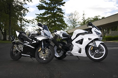 the white knight cbr 929rr and phil's 954rr (dkfx photography) Tags: white honda motorcycle sportbike whiteknight powdercoated cbr crotchrocket fireblade 929 cbr929rr 929rr thewhiteknight