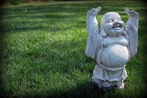 happy Buddha frolicking