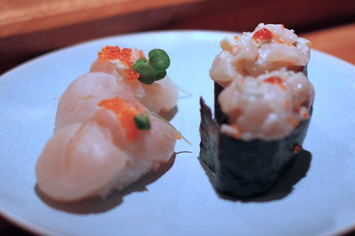 Scallop Nigiri with a Scallop Roll