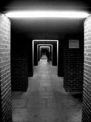 modern cloisters (jonny please get warmer) Tags: bw white house black building night sussex student brighton university union basil lonely uni sir spence falmer