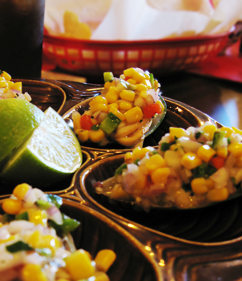 El Toro Loco mussels with sweet corn relish