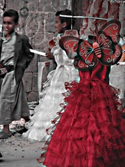 Red Dress (M!) Tags: red butterfly children dress shops yemen soog bab alyemen almelh