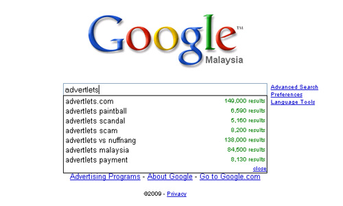 Advertlets on Google