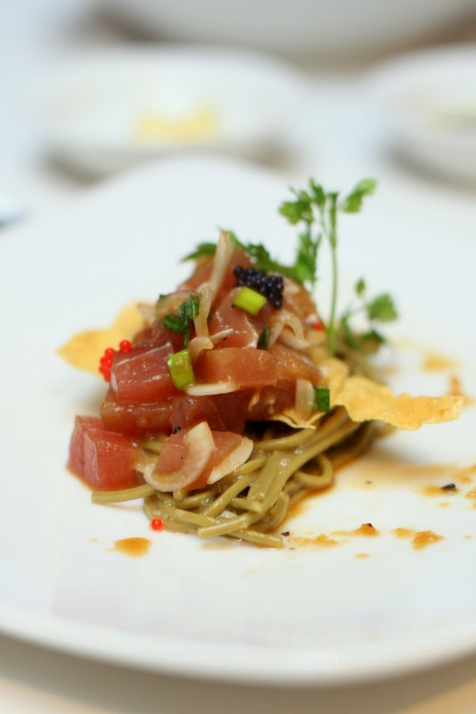 Hakka Republic's Marinated Tuna Tartar with Green Tea Cold Soba and Japanese Citrus Dressing