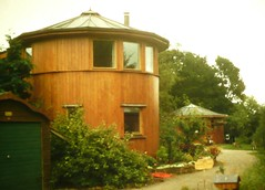 Houses made from whisky vats at the Findhorn Foundation