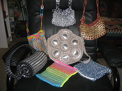 Works in Progress (Pop Top Lady) Tags: beer aluminum recycled crochet can soda bags purses reused pulltabs croche upcycled anilhas lacres trashion poptops