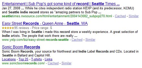 Seattle Indie Music Shops Listings in SERP