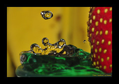 so damn lucky (Andrea Laybauer - Photographer) Tags: world red color detail macro reflection green water yellow gua closeup circle fun strawberry nikon perfect waterdrop angle colorfull awesome sigma drop drip gotas bananas strong draw splash waterdrops desenhos liquid highspeed collision watersplash pingo waterdroplet splashes watersculpture 105mm liquidart distorcion waterform liquidsculpture stardrop d5000 macroart colission waterdropsmacros