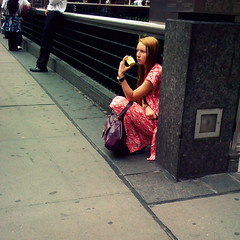 The Girl Who Ate the Apple (antonkawasaki) Tags: nyc newyorkcity candid broadway streetphotography streetportrait squareformat michaeljackson iphone longredhair farrahfawcett 500x500 aloneinacorner redandwhitedress staringatnothing bigwatch antonkawasaki thegirlwhoatetheapple purplebagpurse rightnearthatcheeseythemerestaurantmars2112 eatingforbiddenfruit