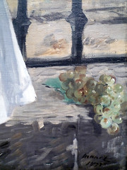 Édouard Manet's The Railway, oil on canvas, 1872-73 with detail of grapes