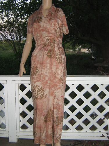 Wrap Top Caribbean Joe Maxi Dress L brown floral hawaiian sundress