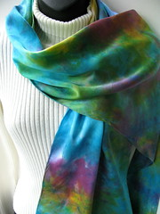 hand dyed silk charmeuse (amysfunkyfibers) Tags: green yellow scarf wrap fuschia scarves shrug luscious stole turquoiseblue handdyedsilk silkcharmeuse accessoryaccessories womenwomens