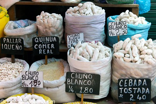 Chuño (dried potatoes) and Quinua