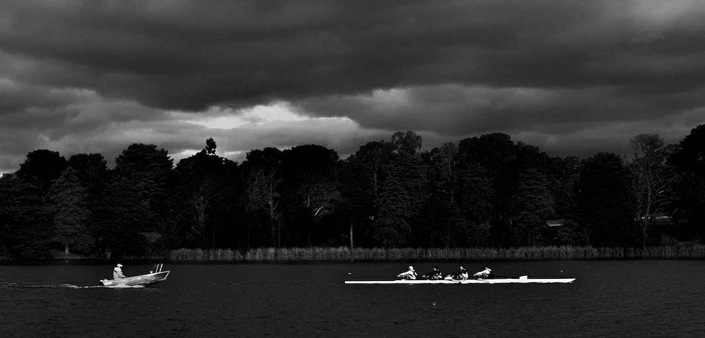 Men's Coxless Four winter training, Lake Burley Griffin, Canberra, Australia.