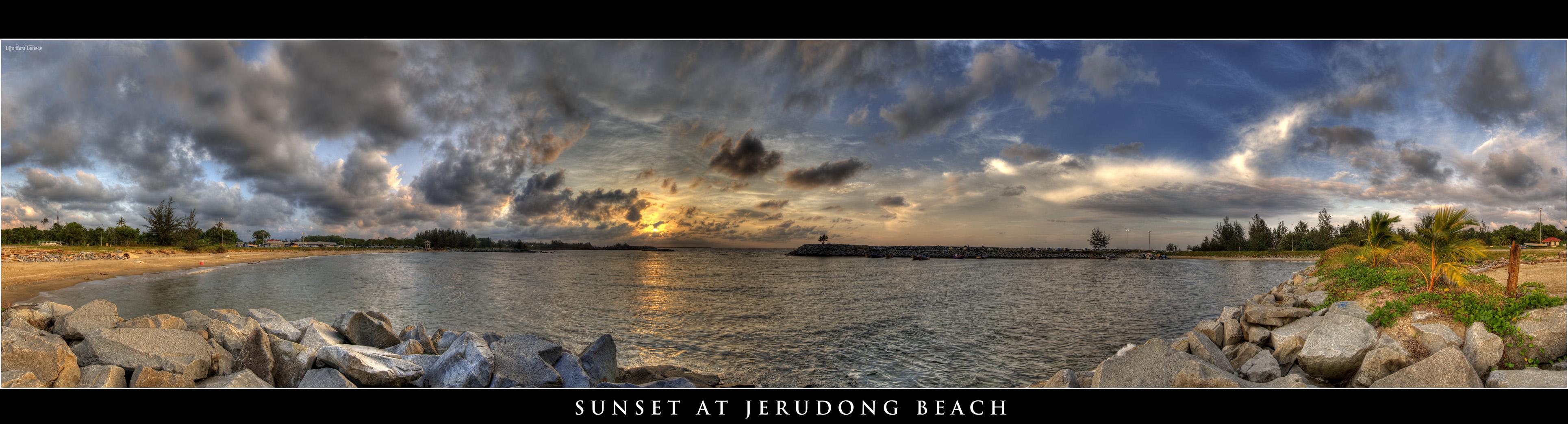Sunset at Jerudong Beach - HDR Panorama