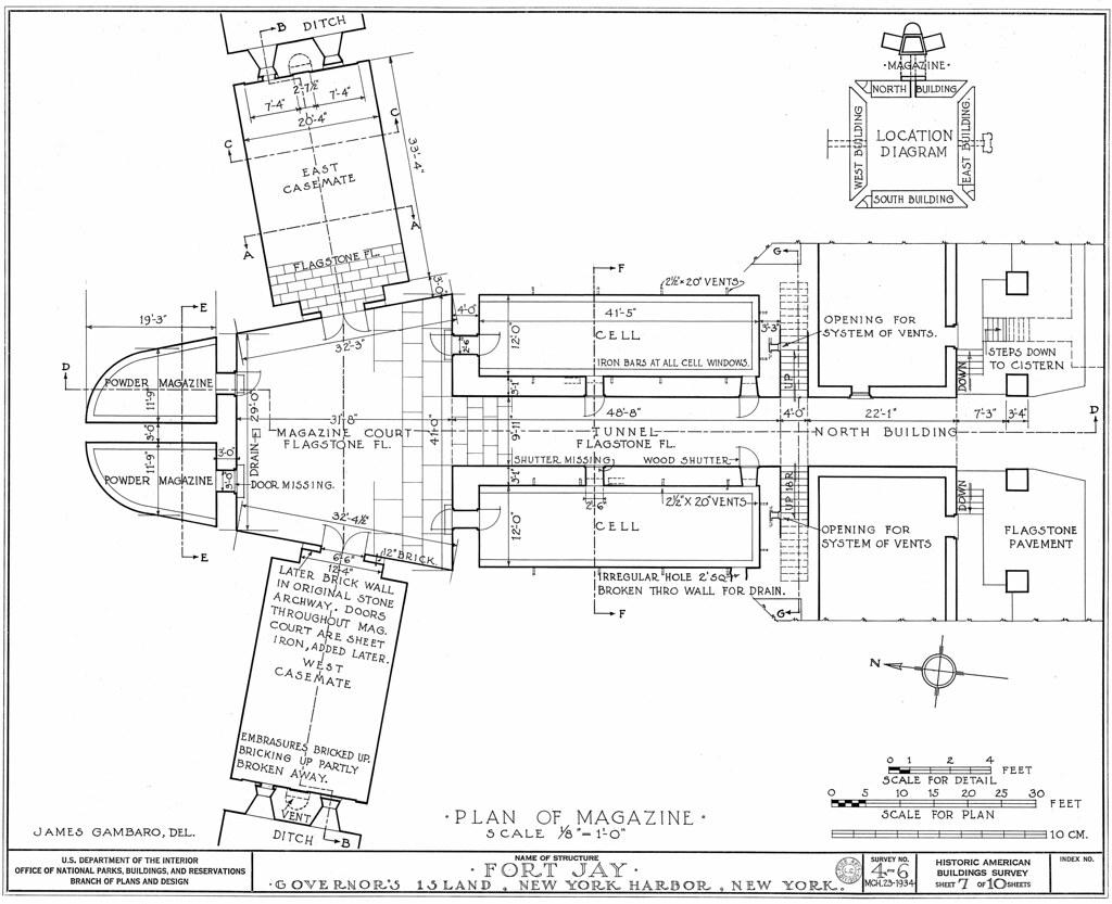 Governor's Island, NY Fort Jay Powder Magazinefloor plan