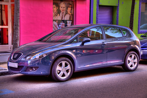 Women, car and colors – Seat, HDR