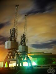 Container Cranes at Night