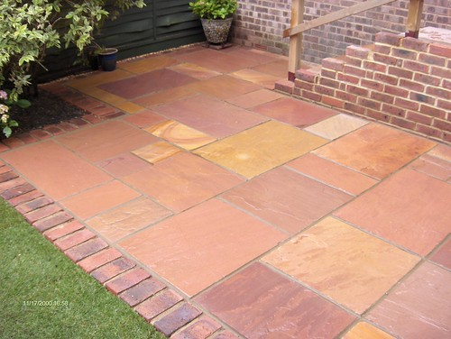 Indian Sandstone Patio and Lawn Image 1