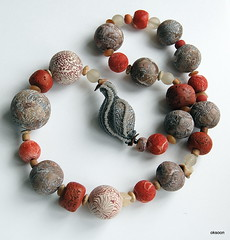 Faux and real coral beads (oksoon) Tags: necklace beads handmade painted polymerclay owndesign beaddesign