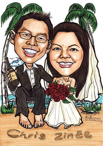 Wedding couple caricatures on hammock A4