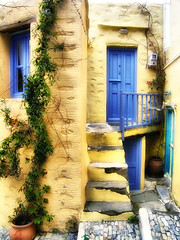 Sweet home (Theophilos) Tags: door house window stairs entrance greece flowerpot balkony narrowstreet  syros ermoupoli