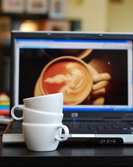 Three cup illusion (Fighting Reality Photography) Tags: cup coffee break laptop tag sb600 relaxing 8x10 illusion mug latte nikond80 afnikkor20mmf28